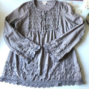 Sundance Blouse Top embroidered Shirt Lace Grey